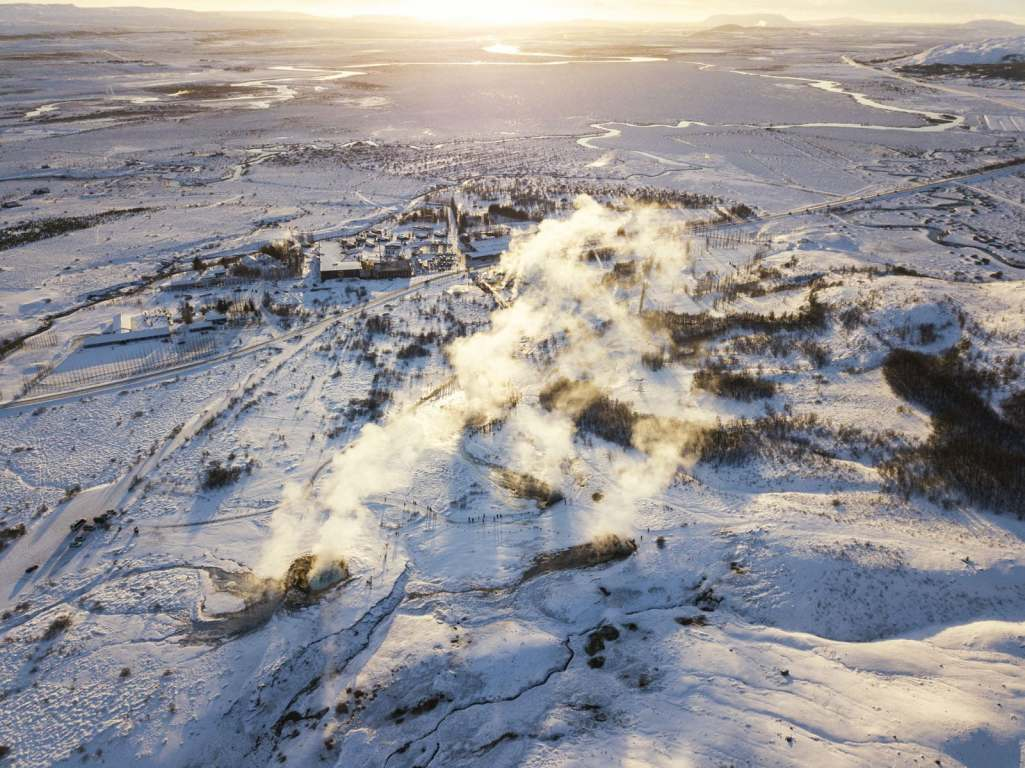 Picture of Geysir area from drone