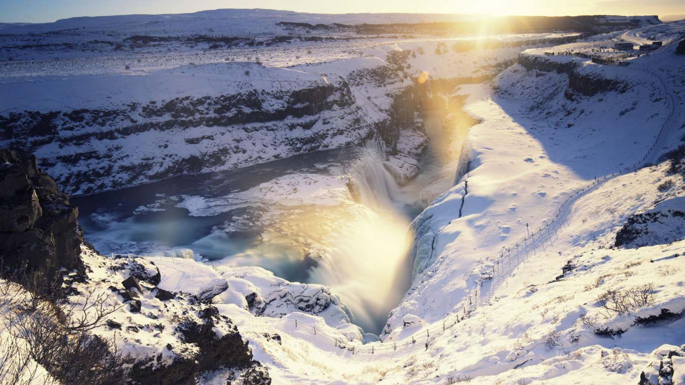 Sunrise at Gullfoss in winter