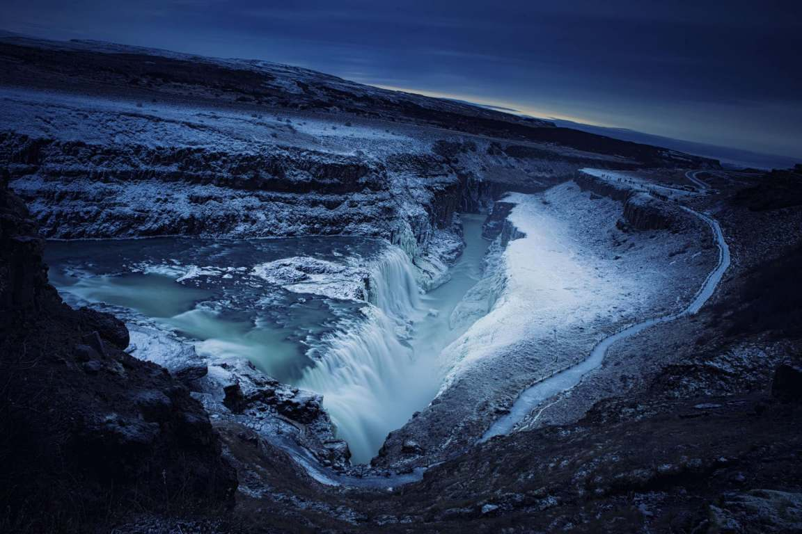 Dramatic shot of Gulfoss in Winter