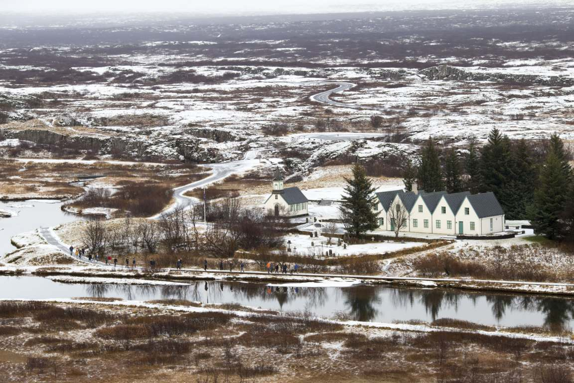 Vie of church in Þingvellir in winter
