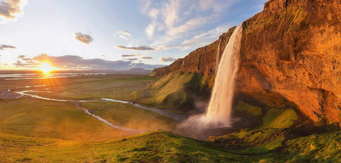 Panorama of Seljalandsfoss in summer