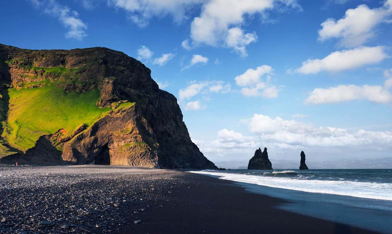 Beautiful panorama of Reynisfjara Black Sand Beach