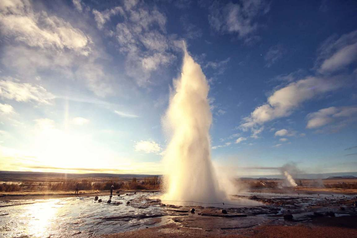 Strokkurr erupting on winter morning