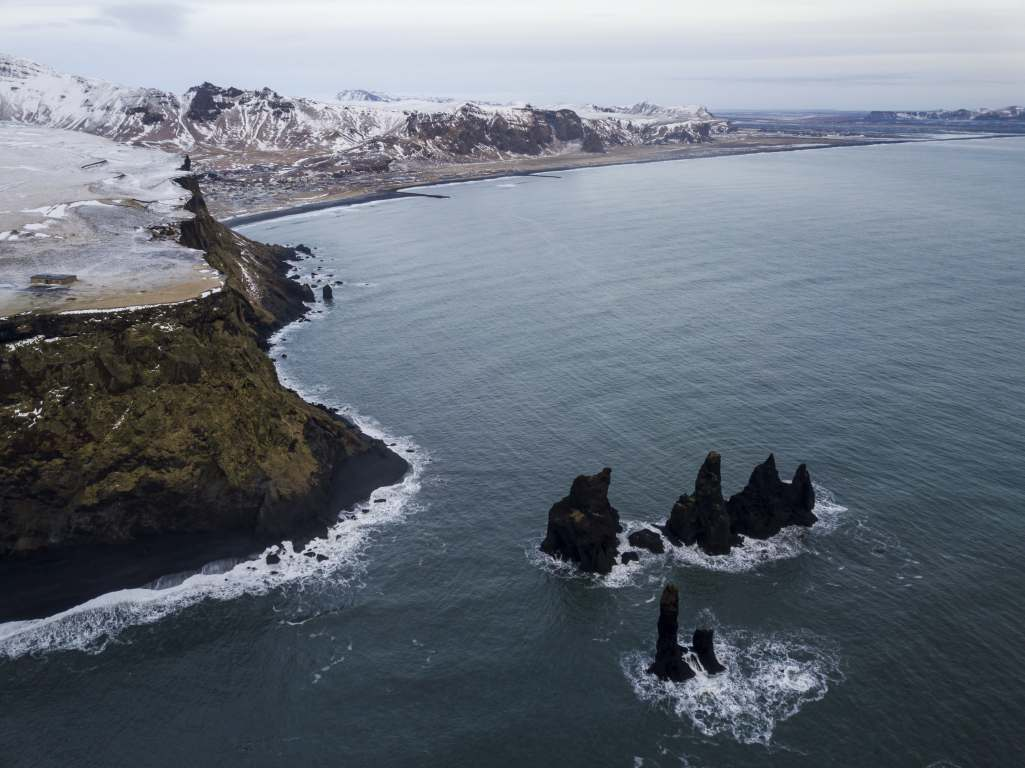 View from above over Reynisdrangar to Vik