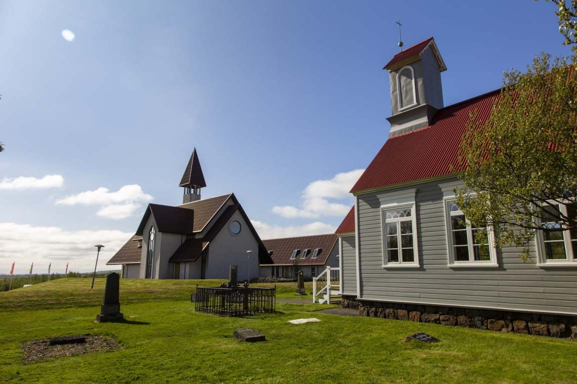 2 churches in Reykholt, clear beautiful sky